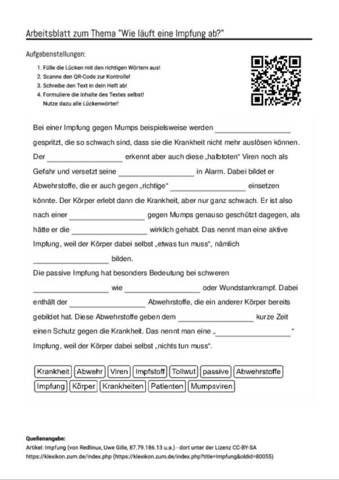 arbeitsblatt mit l ckentext zum thema wie l uft eine impfung ab unterricht schule. Black Bedroom Furniture Sets. Home Design Ideas