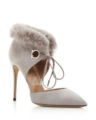 Salvatore Ferragamo Mink-Trimmed Suede Booties clearance hot sale outlet classic limited edition sale online RW0zGhlX