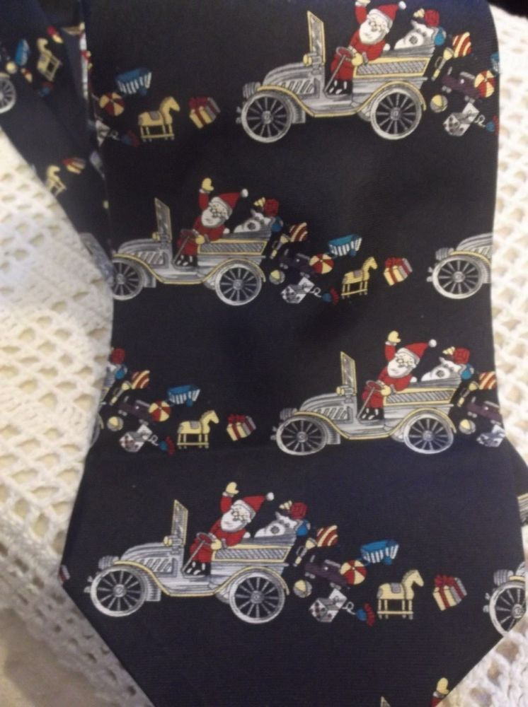 Novelty Christmas Tie Necktie Santa Antique Automobiles Cars 57 ...