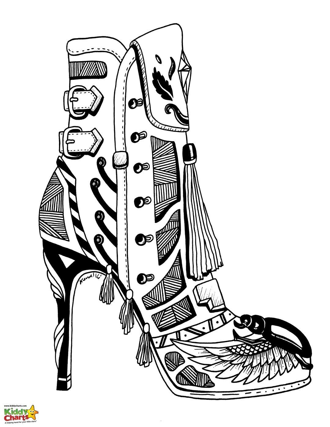 High Heel Shoe Coloring Pages For Adults And Kids Coloring Pages