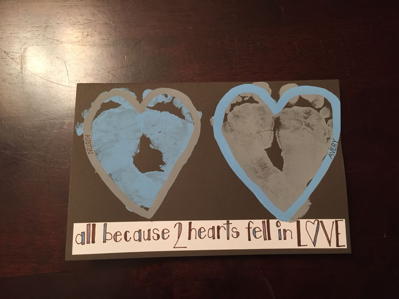 Anniversary Card For Parents From Kids... Because Two Hearts Fell In Love.  Print Anniversary Card