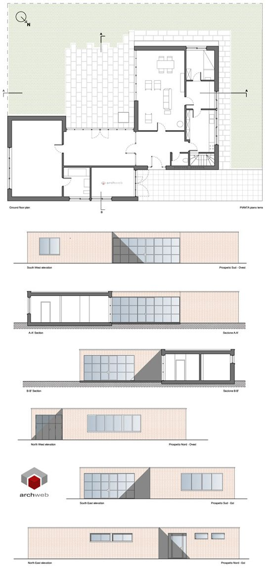 Lemke House 2d Dwg Mies House Graphic Help Elevation