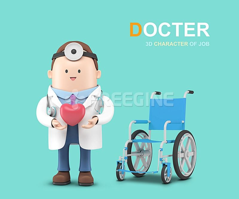 사람, 오브젝트, 남자, 그래픽, 병원, 의사, 봉사, 휠체어, 캐릭터