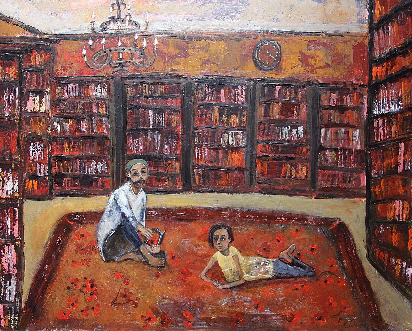 Original Readings At The Dusty Bookshelf Acrylic Painting On 16 X 20 Inch Gessoed Panel Unframed Art