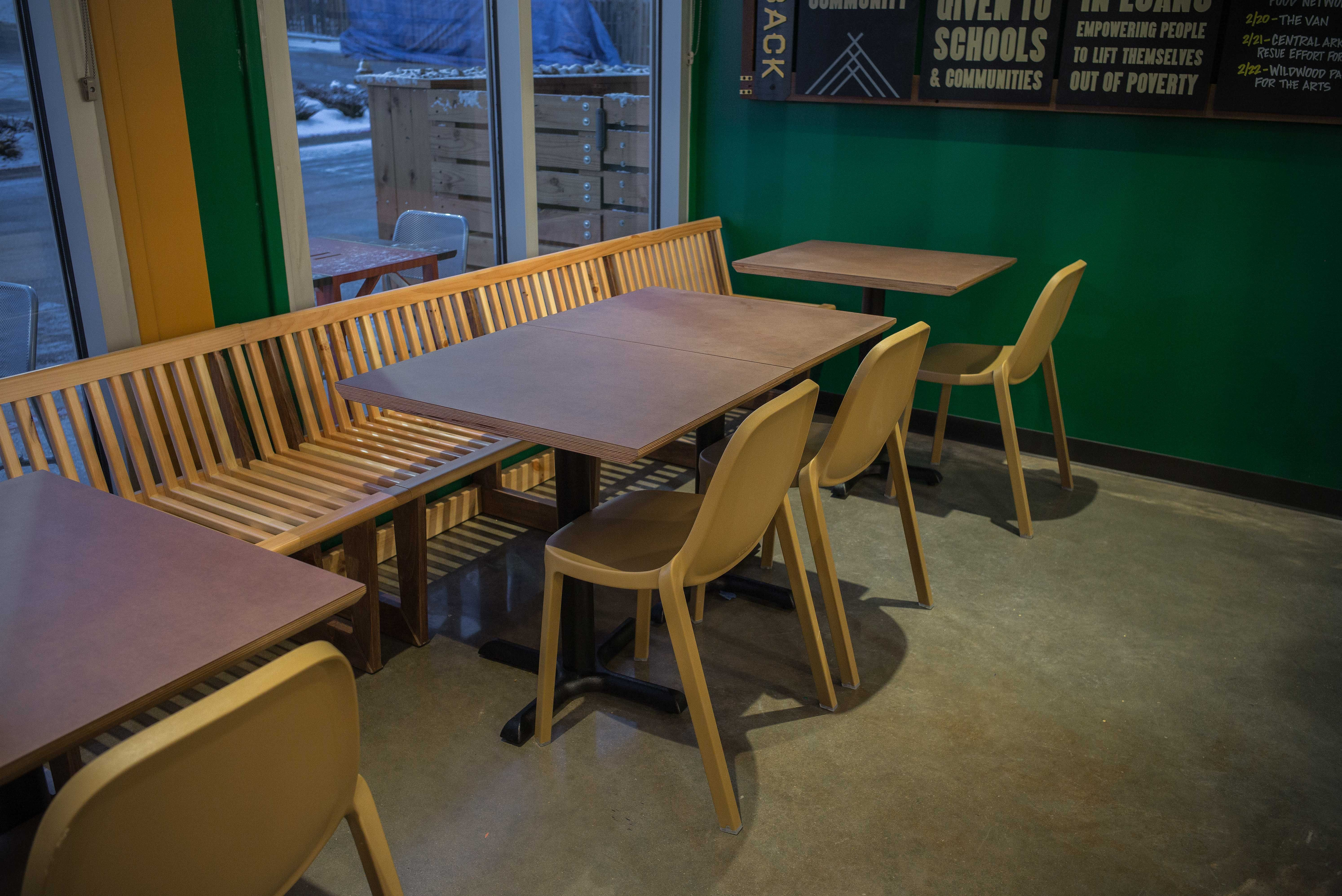 reclaimed oak banquette seating and paperstone coverply dining rh pinterest com