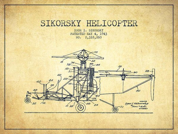 Sikorsky Helicopter Patent Drawing From 1943-vintage Poster by