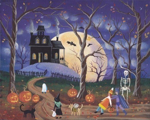 dont be scared halloween folk art 10 x 8 print 1295 via etsy