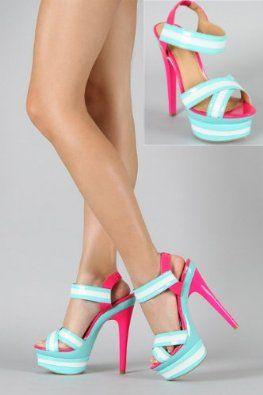 Shoehorne Minx-03 - Womens Patent Hot Fuchsia Pink Aqua Blue Colour Block  Sandals High Heel Platform Stiletto Shoes - Avail in Ladies size 3-8 UK 7c5d7965ca