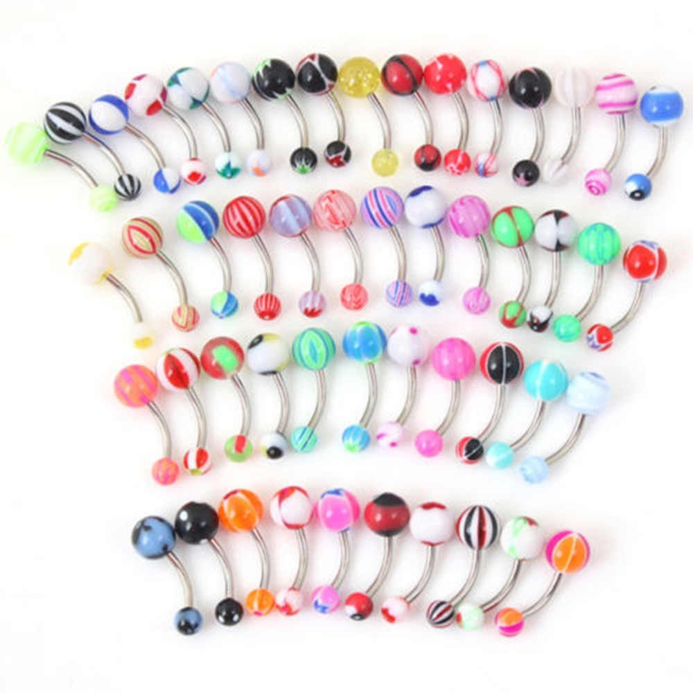 50pcs Mixed Ball Tongue Ring Navel Nipple Barbell Bars Body Jewelry Piercing MM