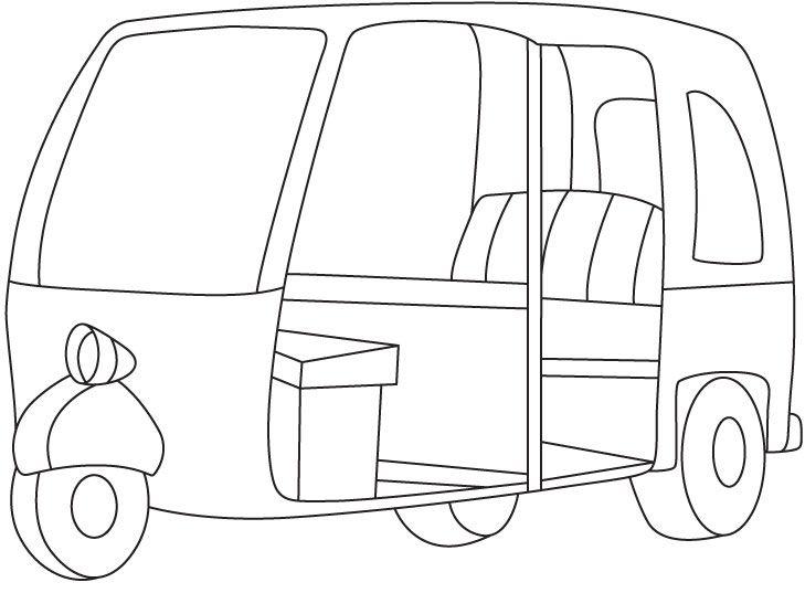 auto rickshaw coloring page | download free auto rickshaw coloring ... - Ambulance Coloring Pages Print