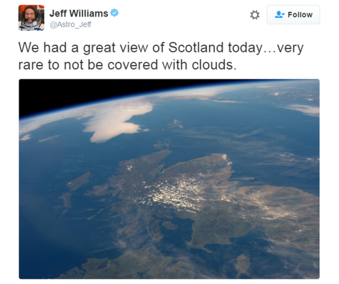 Cloudless Scotland snapped from space
