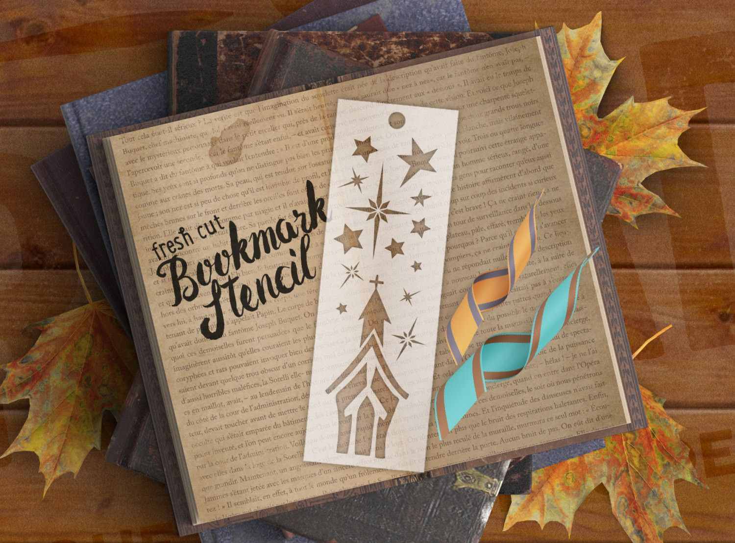 Holy night bookmark stencil for quick marks in journals
