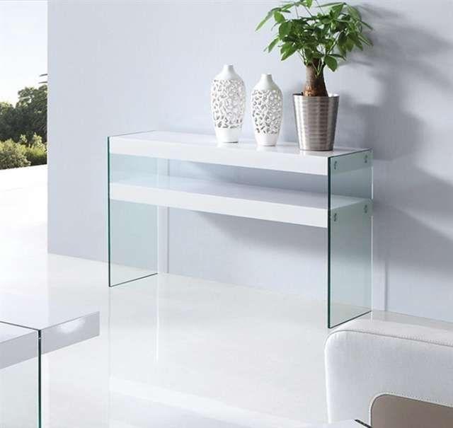 Consola Gatsby Lacada Blanca Cristal Muebles De Cristal Muebles Diseño De Muebles