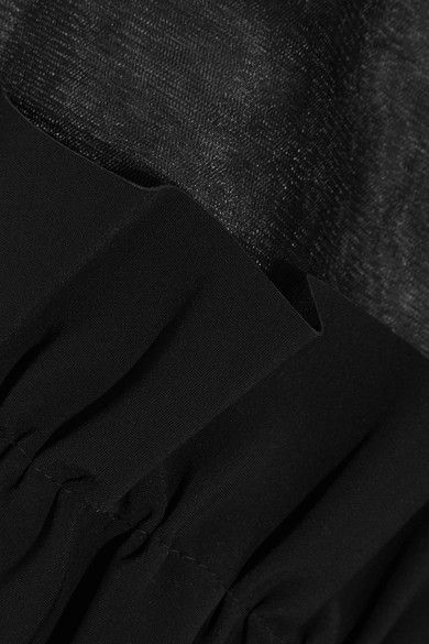 Paskal - Ruffled Bonded Stretch Crepe-trimmed Organza Top - Black -
