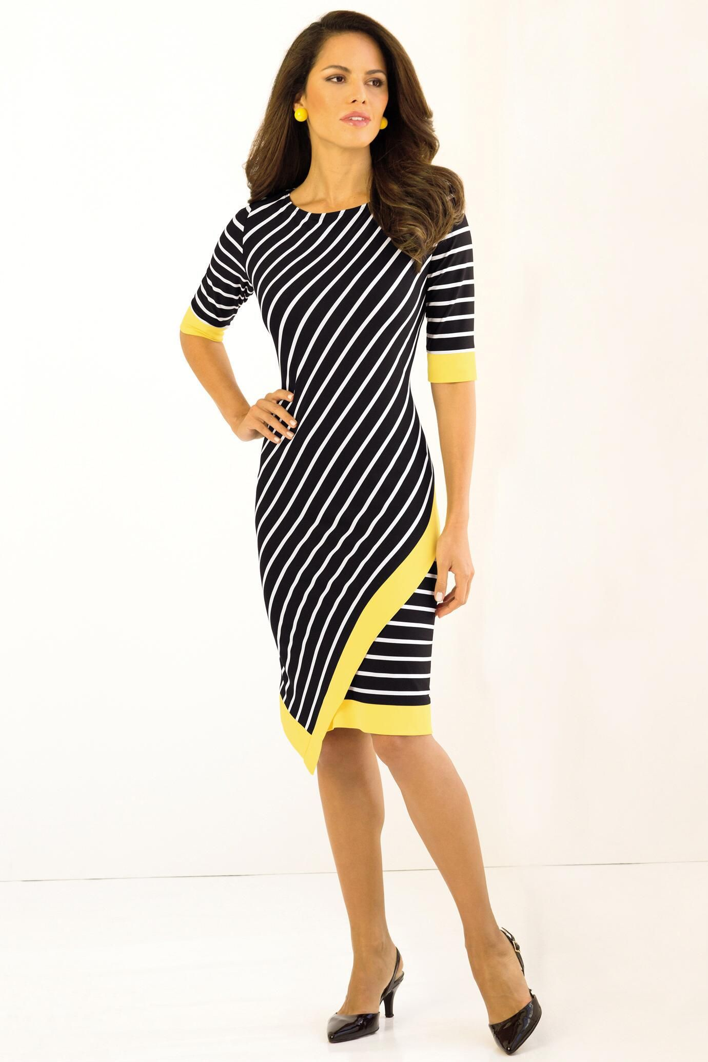 d168ac2ab771ea Tipped Striped Dress: Dress features slimming diagonal stripes on the front  and horizontal stripes on the back; the contrast tipping adds a bold swipe  of ...