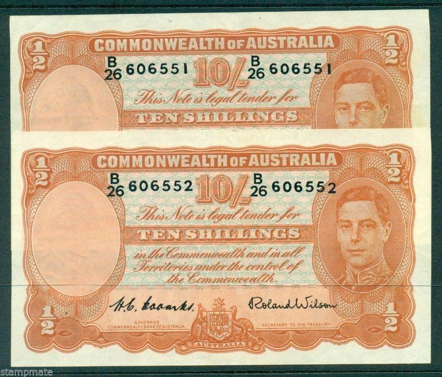 AUSTRALIA CONSECUTIVE PAIR R15 TEN SHILLING 1952 COOMBS R