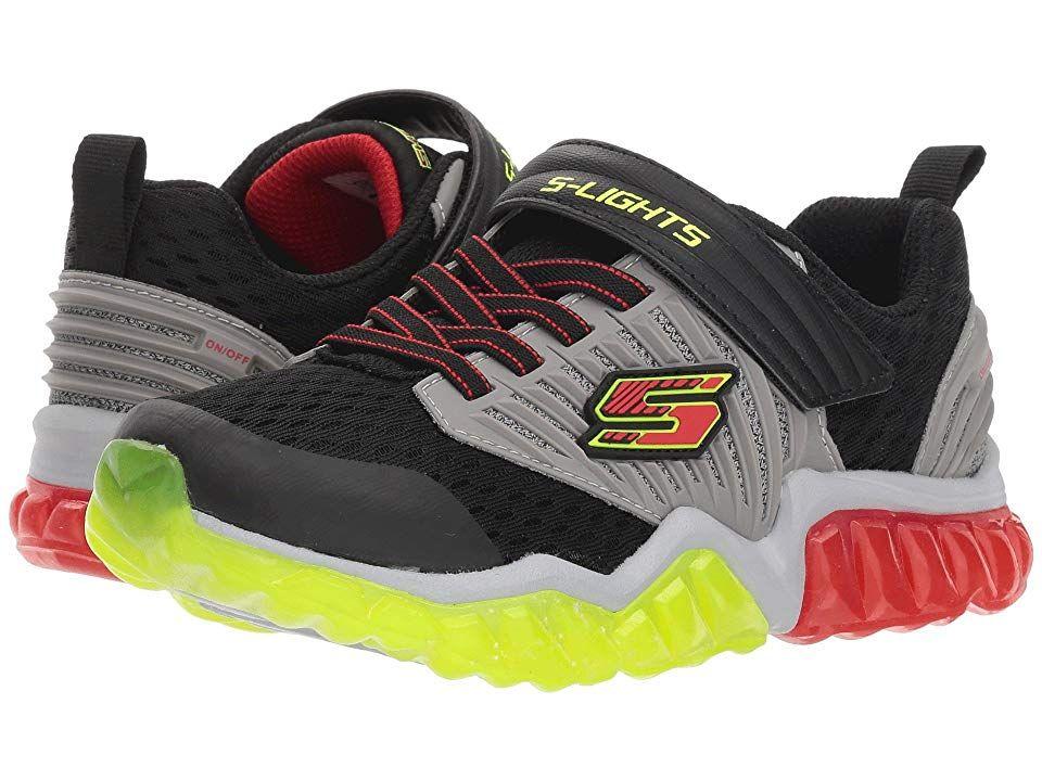 12b6703af3822 SKECHERS KIDS Rapid Flash 90720L Lights (Little Kid/Big Kid) Boy's Shoes  Black/Gray/Red