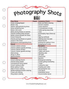 If you and your photographer don't know what pictures you want taken at your ceremony and reception, take a look at the Wedding Planner Photography Shots checklist. Make sure you have pictures of the bride and groom dressing, shots of the venue, and photos of the ceremony, reception, toasts, family and friends. Free to download and print!