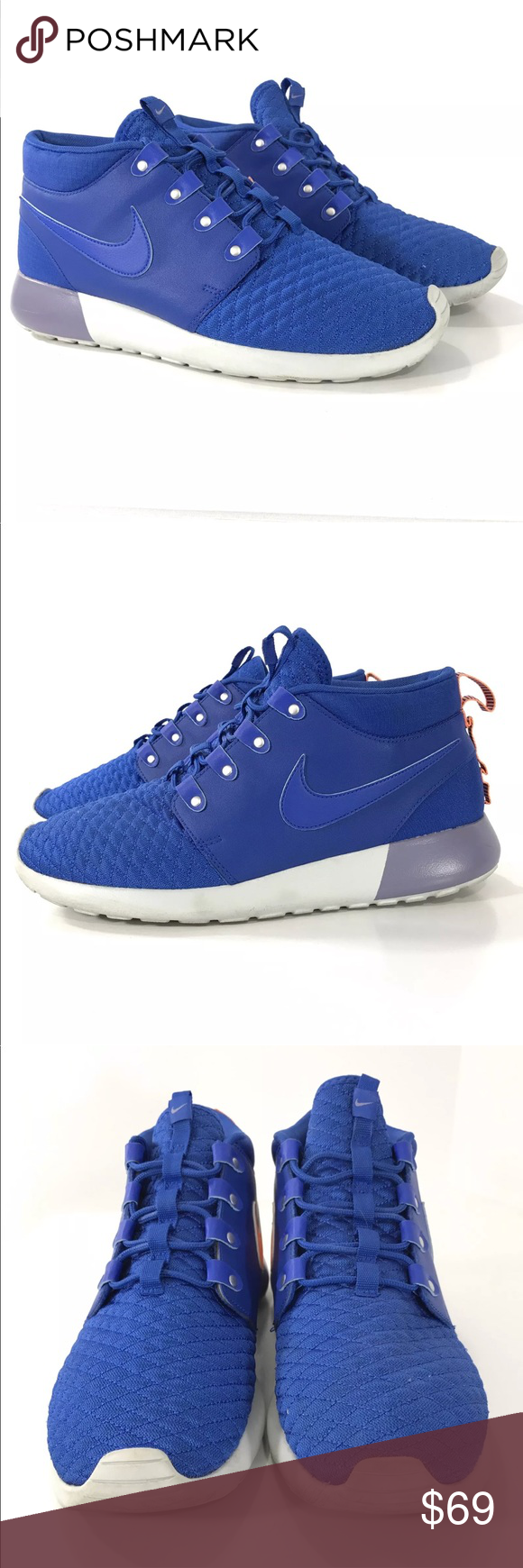 premium selection 2d161 b81ab NIKE Shoes Men s Roshe Run High Top Sneaker Boot NIKE Shoes Roshe Run Blue  Orange Leather