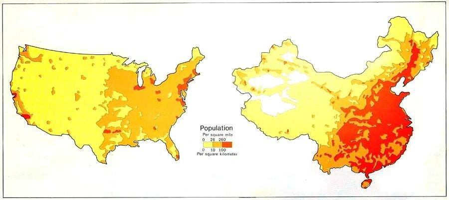 Population Density Comparison of the United States and China