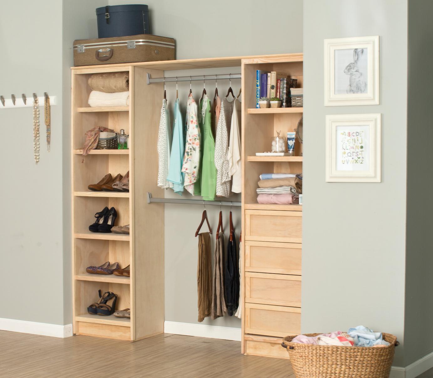 Paquete de cl set de pino cl set pino y accesorios for Closet de madera para dormitorios