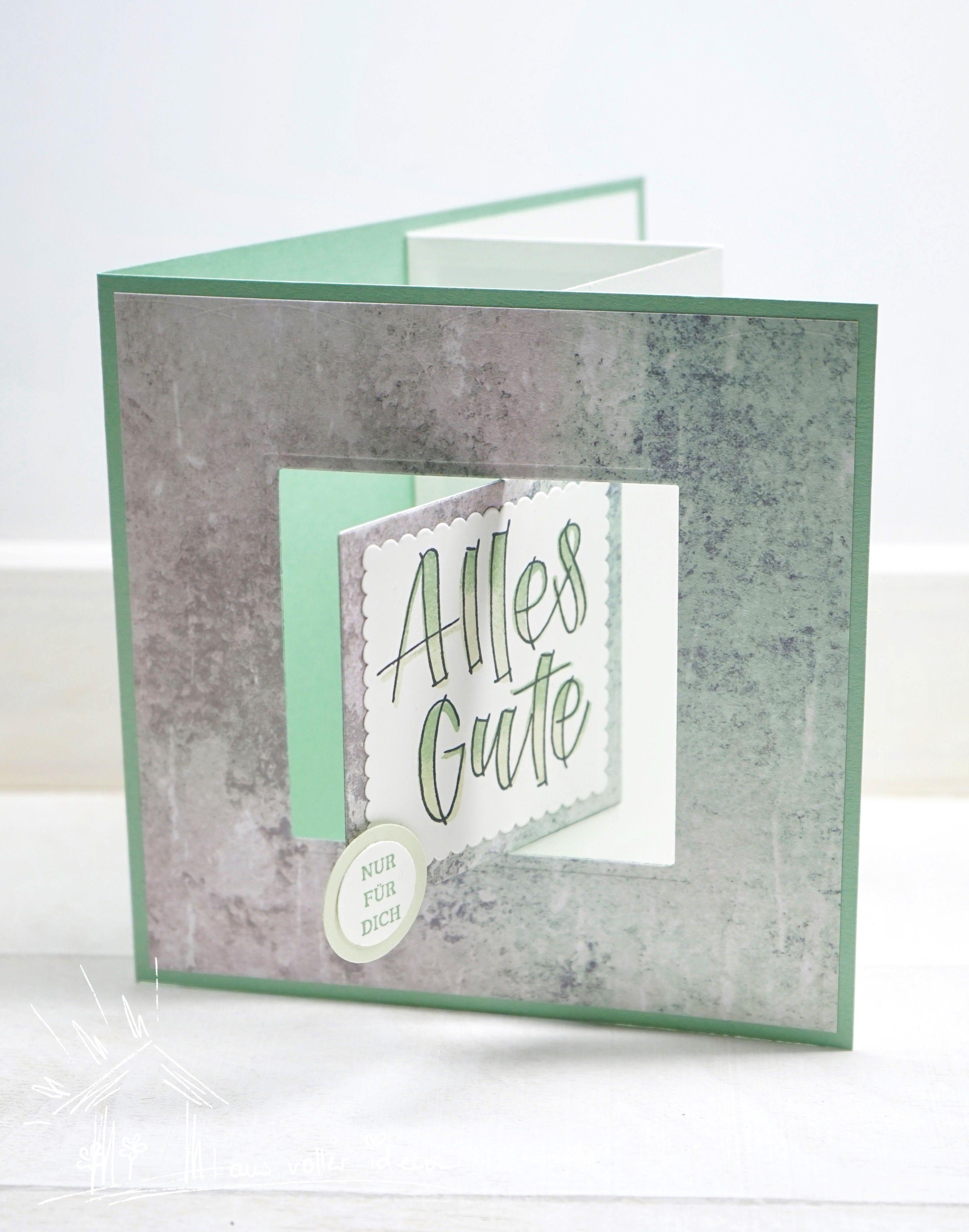 Swing Card In Aquamarin Pop Up Karte Basteln Karte Muster Und