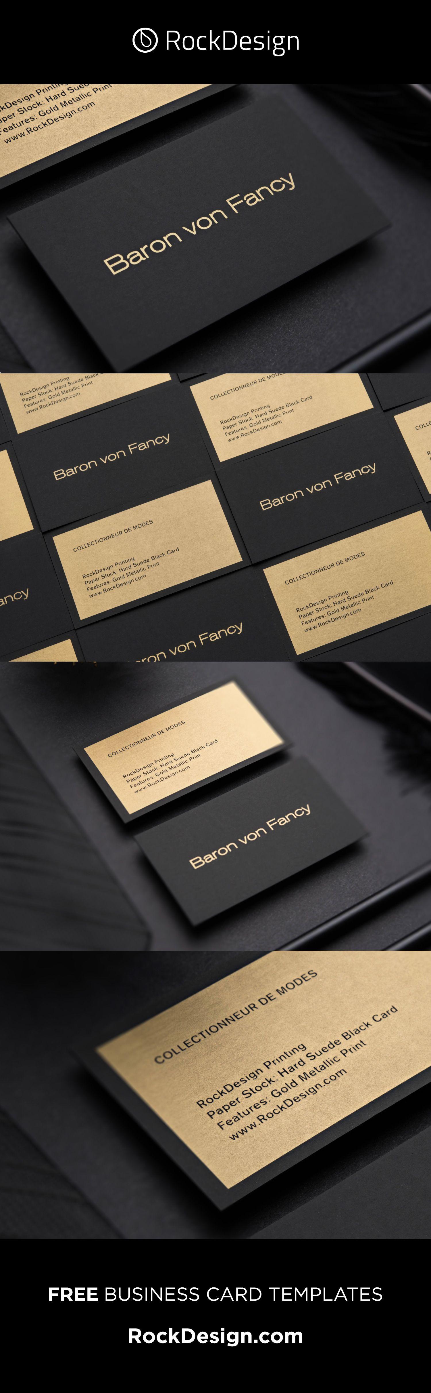 Metallic Printing Simple Professional Black Visit Card Design Baron Von Fancy Free Business Card Templates Luxury Business Cards Business Card Design