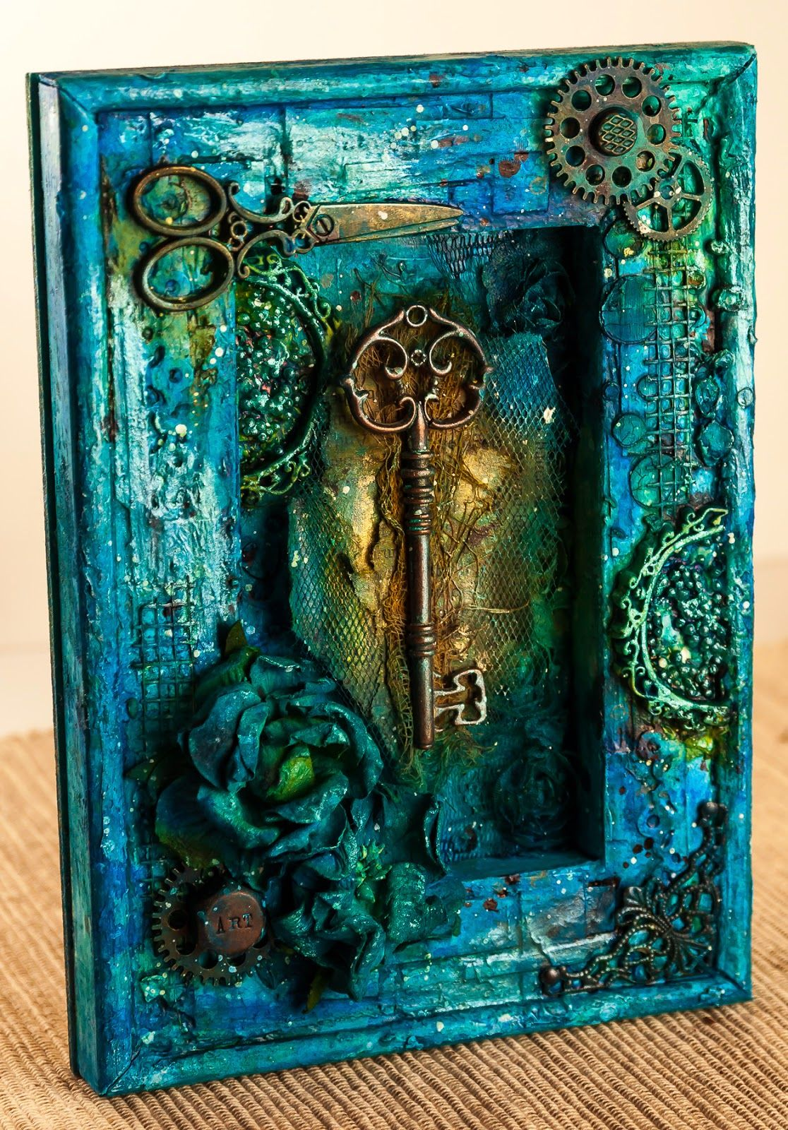A mixed media shadowbox with use of Finnabair stencil, some Prima embellishments and flowers
