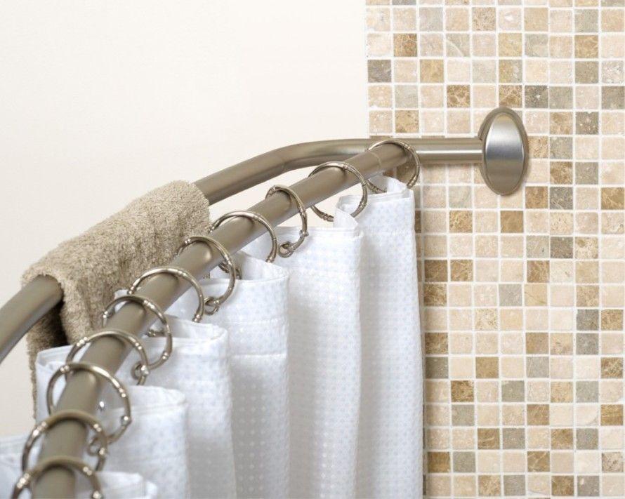 Bathroom Strong Curve Shower Rod For White Curtain Set On Brown Mozaic Bathroom Wall Backplash With Curved Shower Curtain Rod Durable Curved Shower Curtain Rod