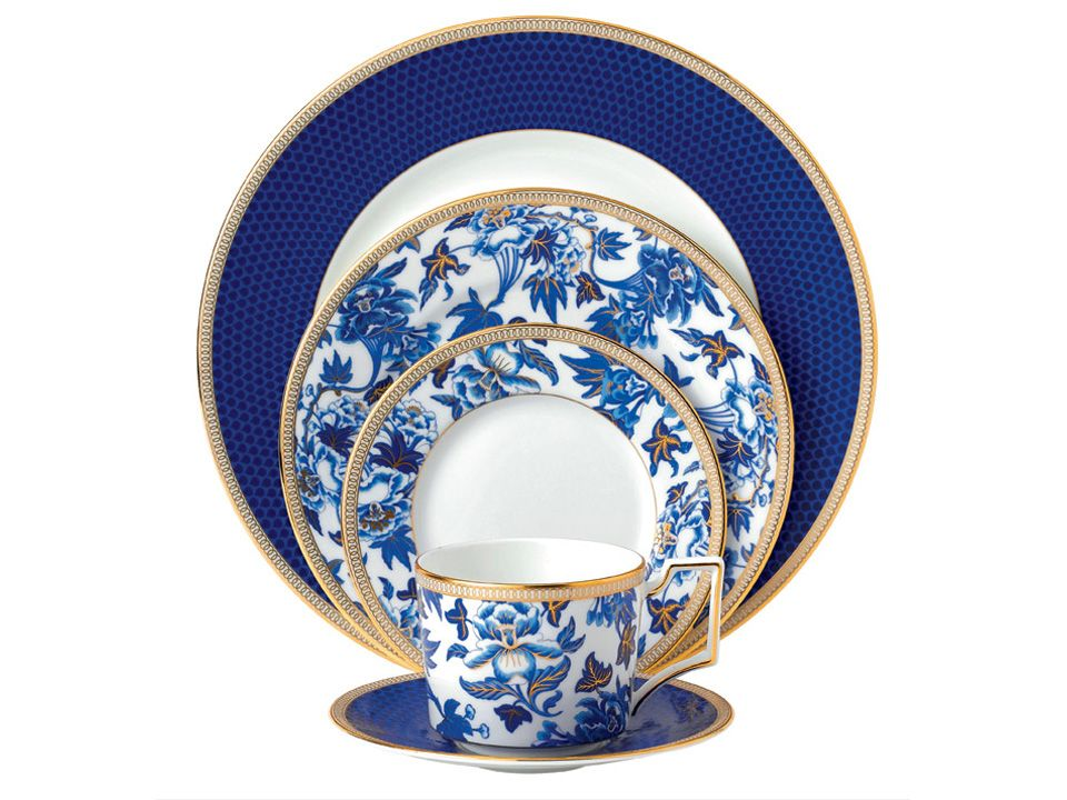 Wedgwood Hibiscus Dinnerware, A Formal China Pattern With Blue, White And  Gold.