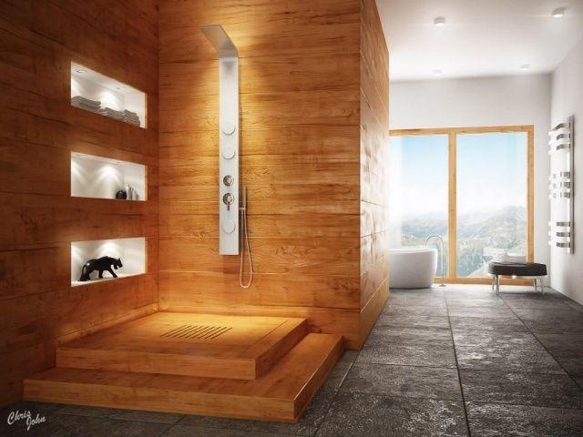 un revêtement mural PVC imitation bois dans la salle de bain bois