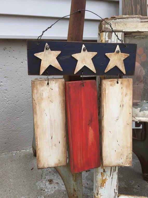 Rustic Primitive American Flag, wood Americana Flag 4th of ...