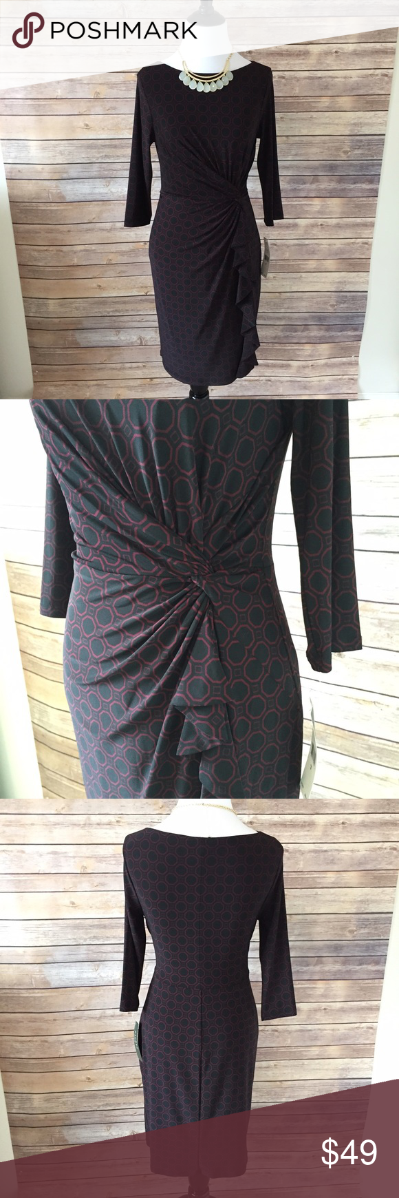 "⚡️FLASH SALE!⚡️ RALPH LAUREN Sheath Dress NWT Look slim and chic in this geo-print sheath dress from Ralph Lauren. 3/4 length sleeve lined cocktail dress. Size 2 petite. Machine wash. 95% polyester, 5% elastane. Flattering side swept fabric synch and ruffles down the left side. Pull on dress. Approx. 15"" bust flat, 12"" waist, and 35"" length. Dress falls approx. above the knee. New with tags. (Necklace also available). Ralph Lauren Dresses Midi"