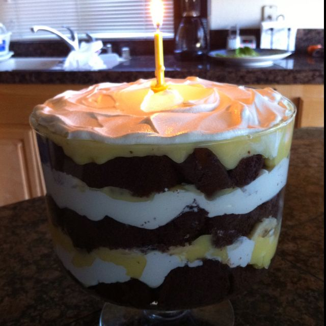 Chocolate cake/vanilla pudding/bananas/whip cream. Layer. Repeat. Enjoy!