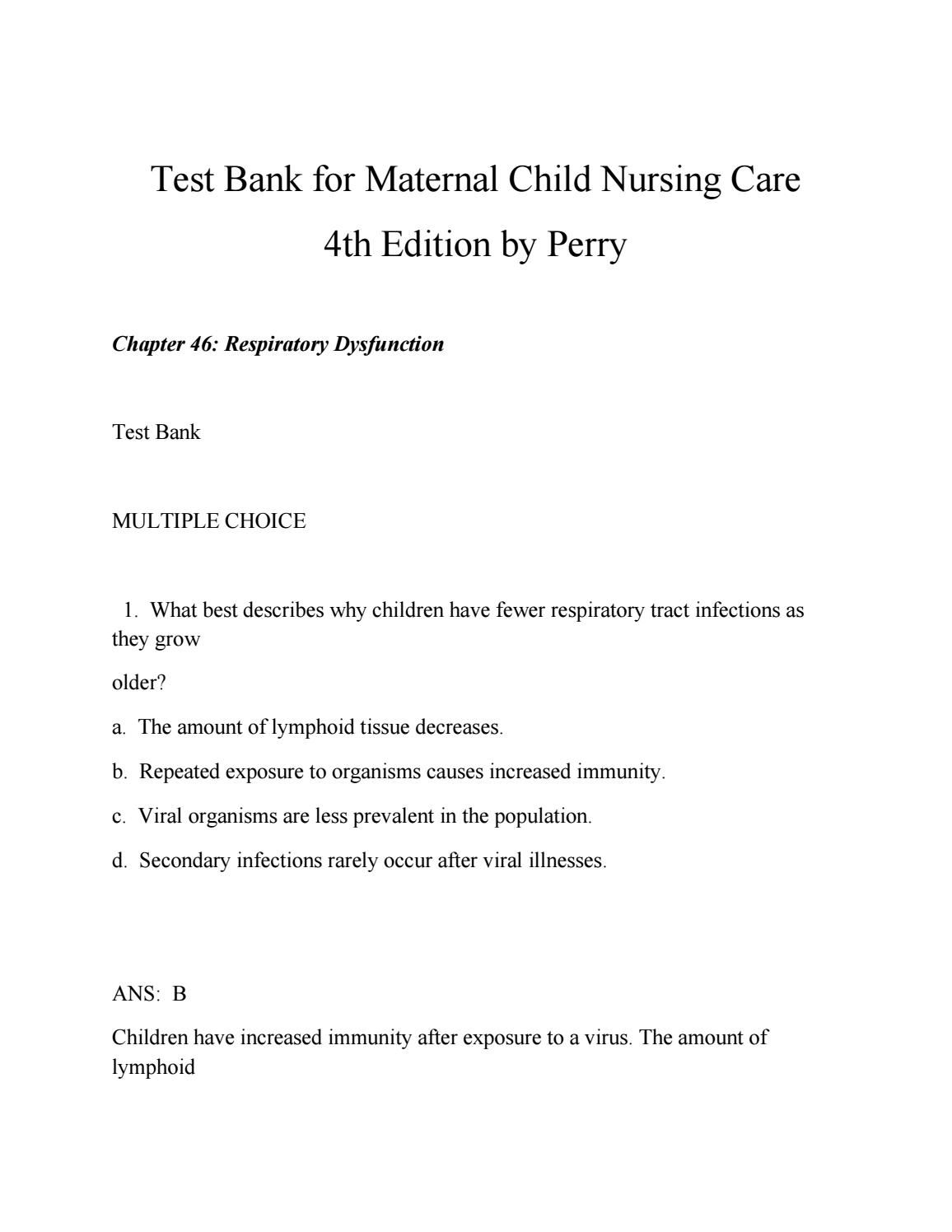 Test bank for maternal child nursing care 4th edition by perry ...