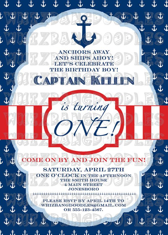 Nautical First Birthday Invitation Birthdays Etsy And Birthday - Nautical birthday invitation ideas