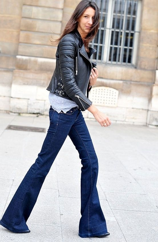 Leather jacket and flared jeans. Geraldine SAGLIO in Celine  78e9e8bcc27b0