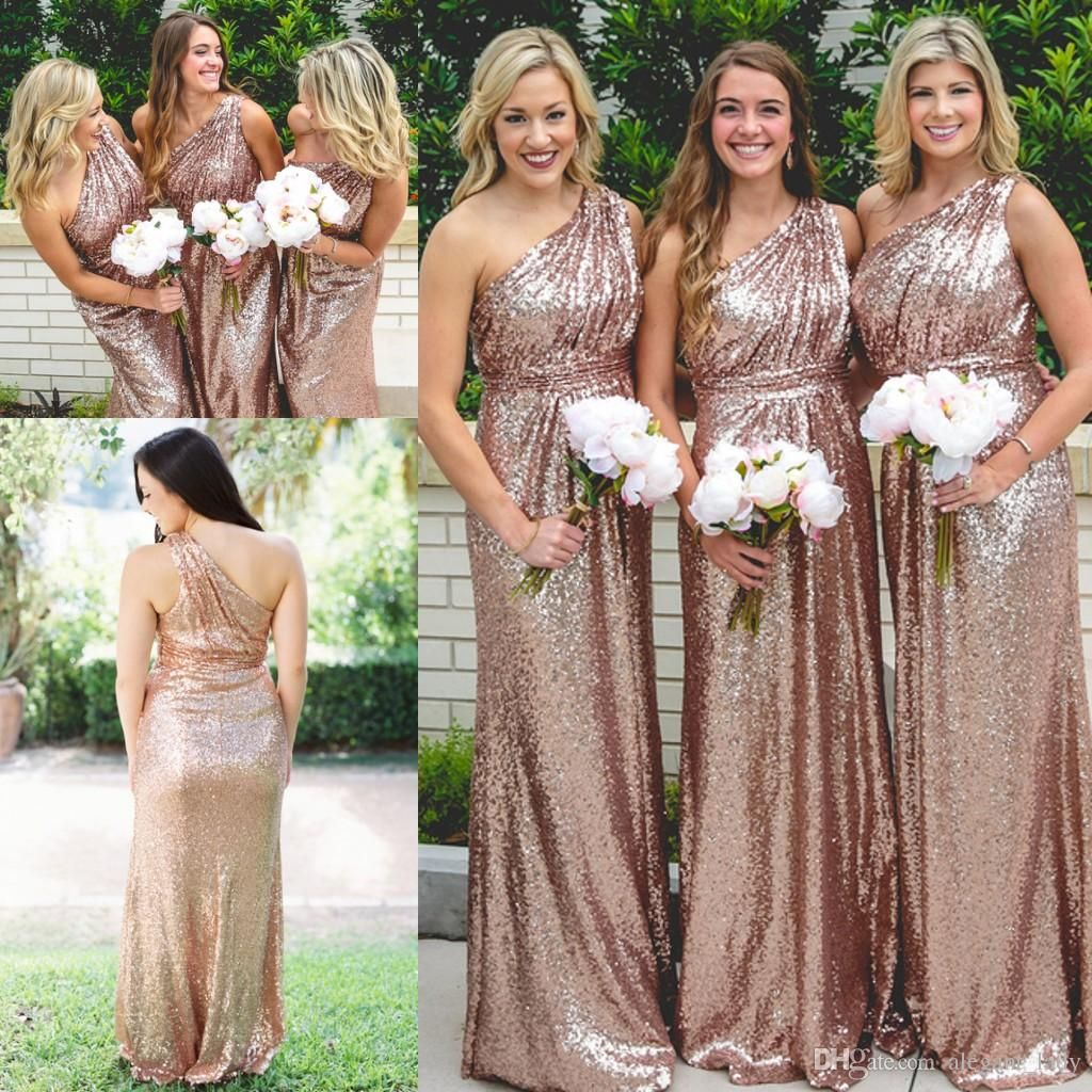 cc4ed3162c Rose Gold Sequin Country One-shoulder Bridesmaid Dresses 2018 ...