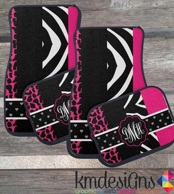 Zebra Amp Giraffe Hot Pink Car Floor Mats Choose Color
