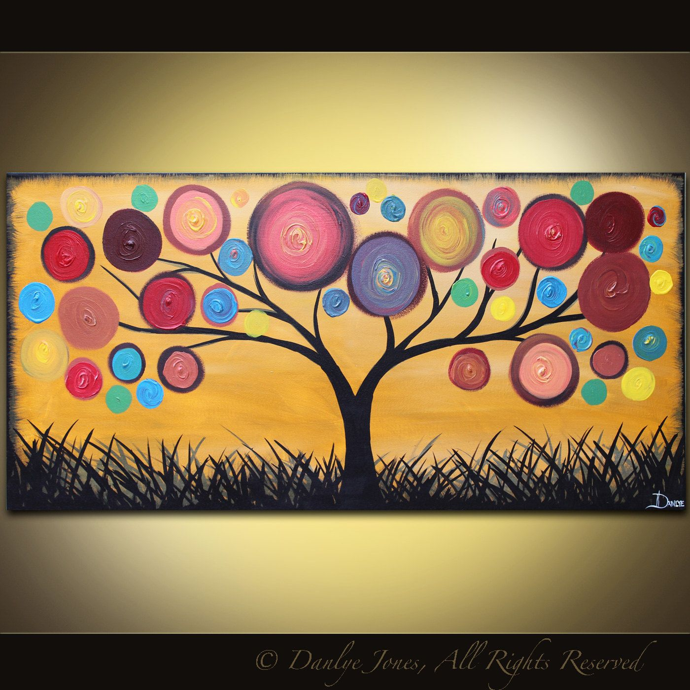 Abstract Painting Tree acrylic on canvas red ochre 48 x 24 ...