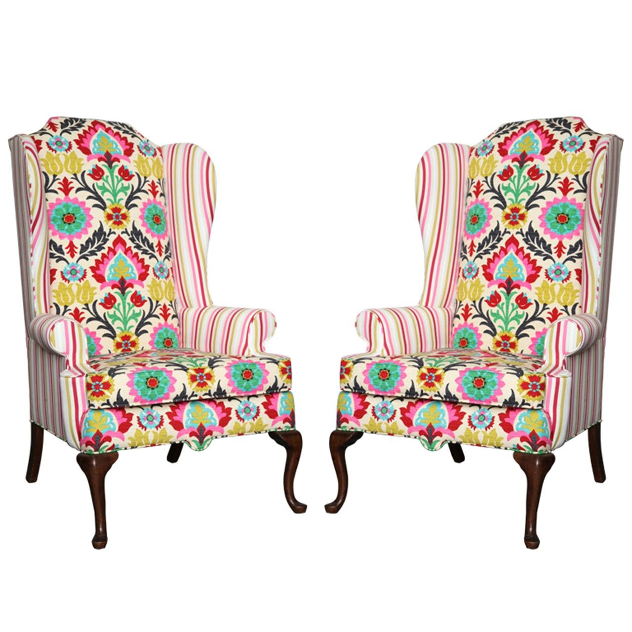 View this item and discover similar wingback chairs for sale at - A set of  two American Drexel Queen Anne Vintage Wingback Chair c. - Bright Wingback - Google Search UPHOLSTERY Pinterest Wingback