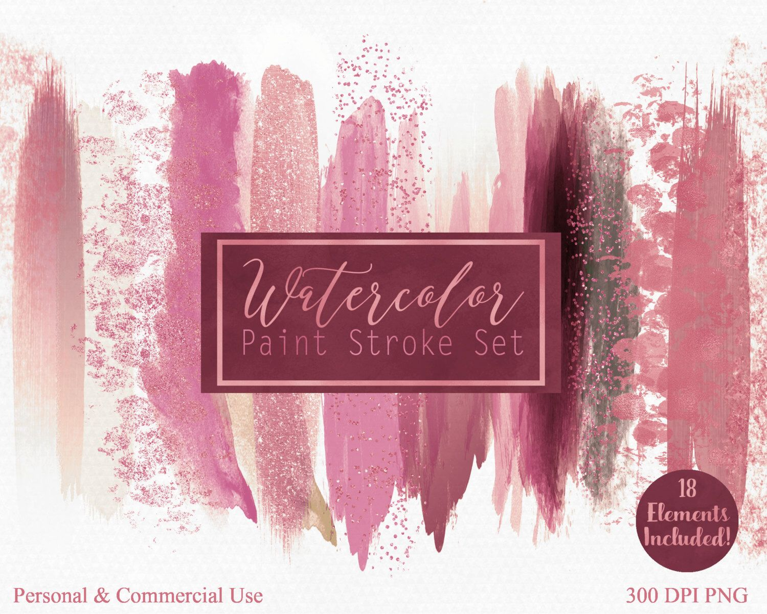 Mauve Pink Watercolor Brush Stroke Clipart Commercial Use