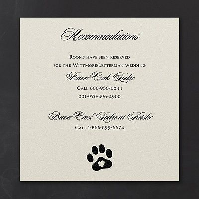 Include Paw Print Design Accommodation Cards In Your Dog Lover S Wedding Invitations To Make It Easy