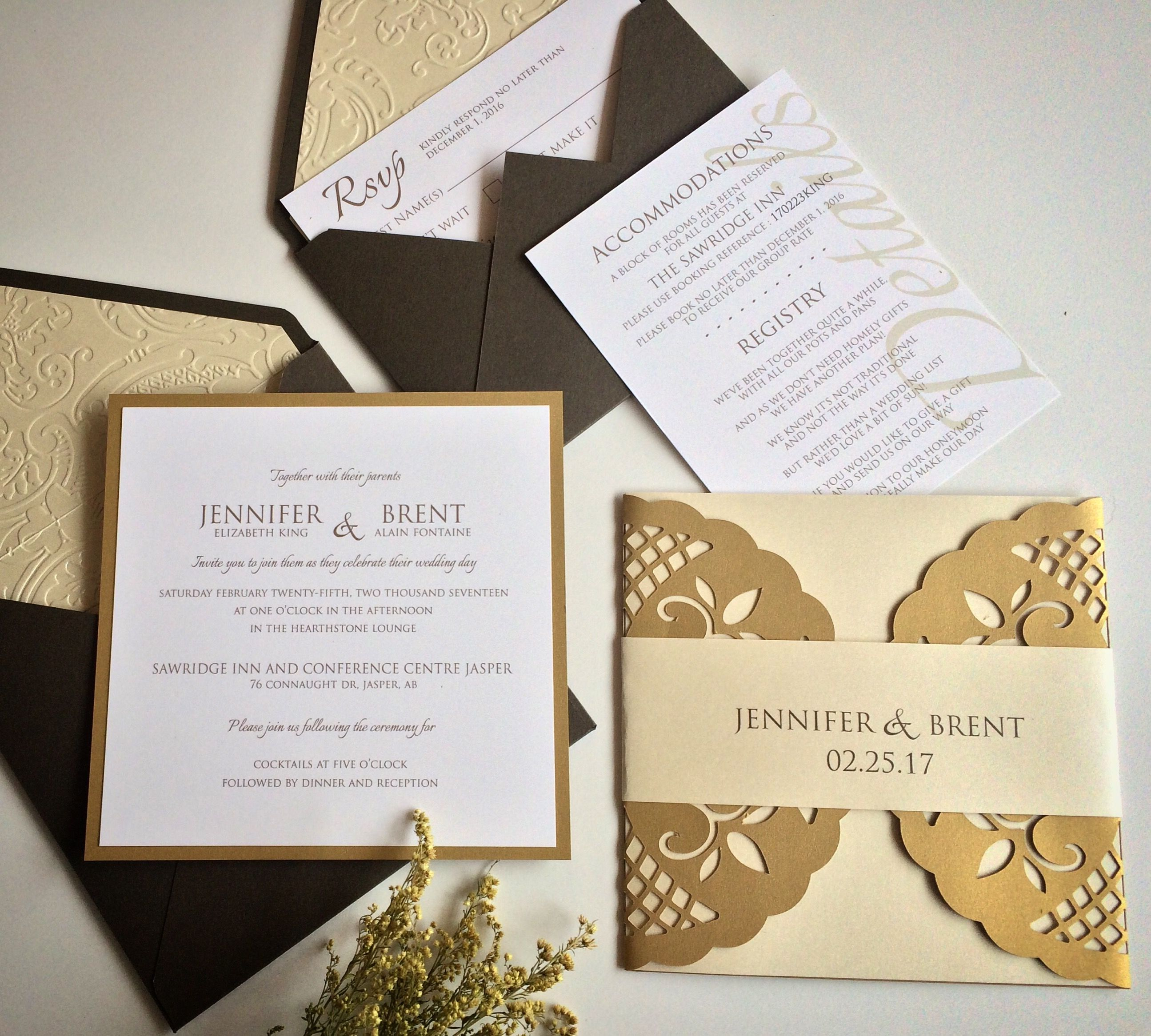 wedding invitation wording with no reception%0A Earth Tone Green  u     Gold Laser Cut Wedding Invitation Custom Design  Invitations