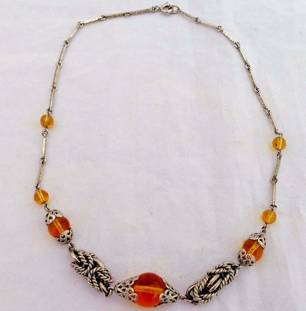 Vintage Art Deco Machine Age Jakob Bengel Amber Glass Filigree Knot Necklace