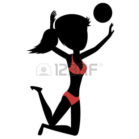 volleyball girl: Chica Voleibol Silueta de una niña juega la playa ...