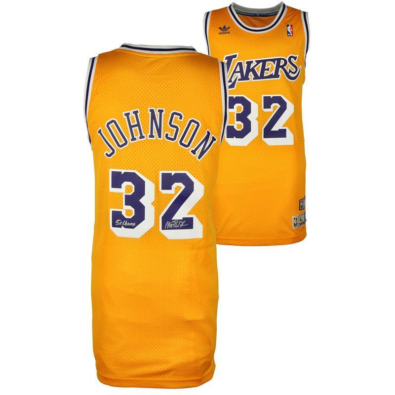 f6fe30039 Magic Johnson Los Angeles Lakers Fanatics Authentic Autographed Adidas  Swingman Gold Jersey with 5X NBA Champs Inscription