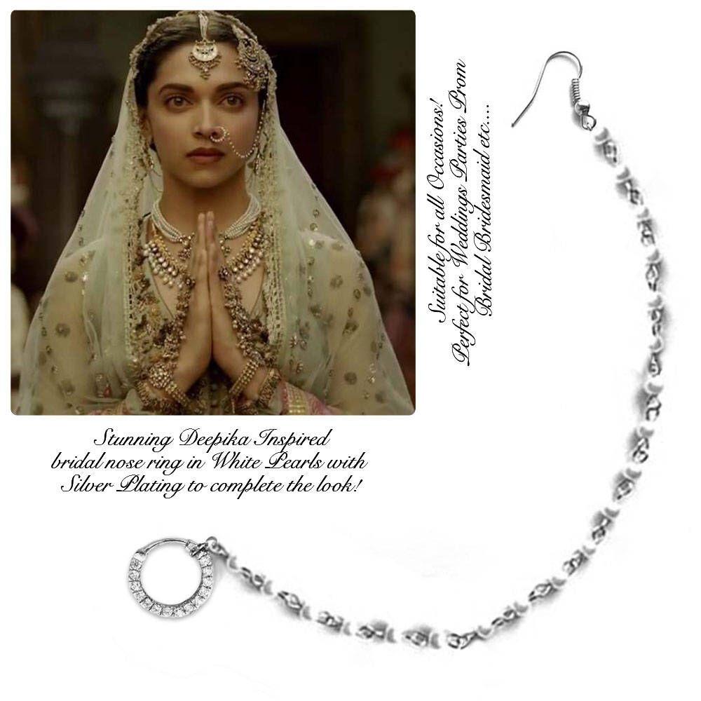 pierced indian nose ring , bridal nose ring , brides nose ...