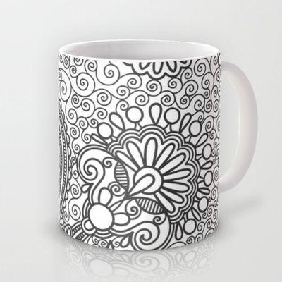 Floral B&W Mug by studio VII - http://society6.com/vivinicolin/Floral-BW_Mug#27=199