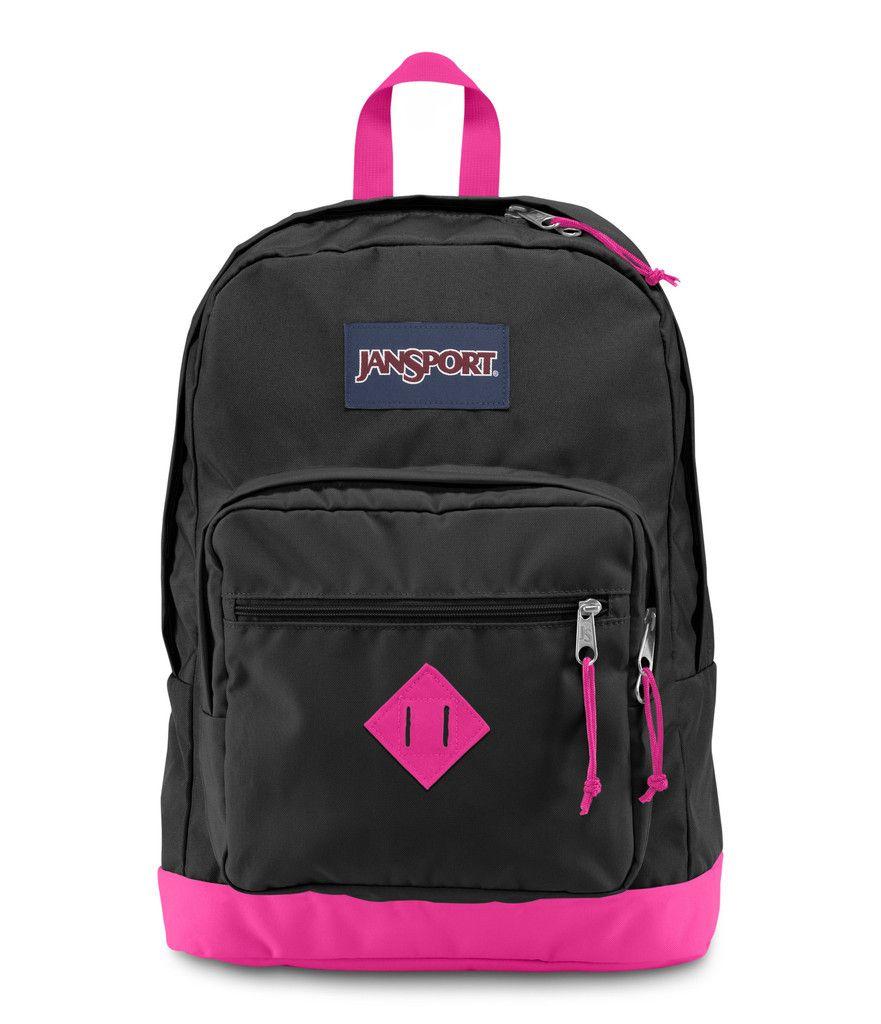 JANSPORT CITY SCOUT BACKPACK - New Black/Fluorescent Pink ...